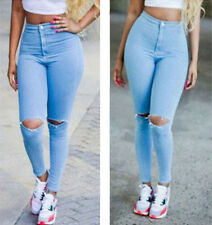Sexy Women Denim Skinny Pants High Waist Hole Stretch Jeans Slim Pencil Trousers