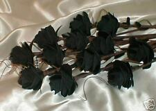 12 BLACK LEATHER ROSES, ANNIVERSARY, GIFT, FLOWER, FLORAL, GOTHIC, FETISH