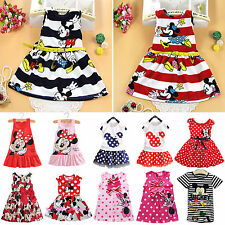 Toddler Baby Kids Girls Mickey Minnie Pattern Skirt Sundress Summer Party Dress