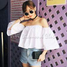Fashion Korean Style Trendy Sexy Summer Off Shoulder Ruffle Blouse Shirt Tops WT