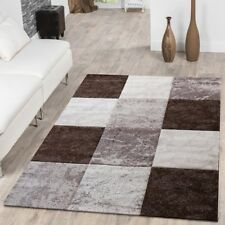 Quality Modern Rug Brown Beige Cream Coloured Carpet Area Rug Low Pile Soft Mat