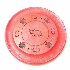 WOODEN INCENSE PLATE - ELEPHANT &  FAUNA CARVED DESIGN ( 6 X COLOURS AVAILABLE )