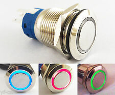1pc 19mm Metal Momentary Switch Flat with Blue/Red/Green LED Ring illuminated