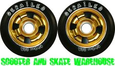 2 X 100mm METAL CORE DERAILED SCOOTER WHEELS GOLD - FREE DELIVERY