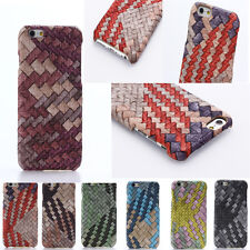 Ultra-Slim New Design  Woven Leather Hard Back Case Cover for iPhone & Samsung