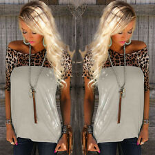 Womens Short Sleeve Sexy Leopard Stitching Summer Loose Casual Tops Tee Shirt
