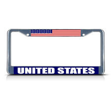 UNITED STATES FLAG Metal License Plate Frame Tag Border Two Holes