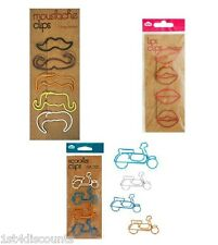 Lips/Moustache/Scooter Page/Book Marker Paper Clips 4pk Cute Novelty Funny