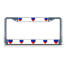 LOVE HEART HAITI COUNTRY FLAG Metal License Plate Frame Tag Border Two Holes