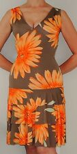 SMITH & MILES Summer Dress Size 4 US (8 Aus) Beige Orange Flowers Floral Print