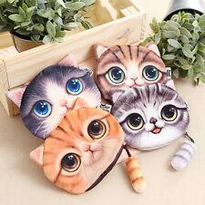 New Fashion Ladies Cute Cat Face Animal Coin Purse Wallet Mini Zipper Bag