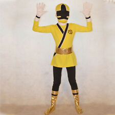 Yellow Boy Power Rangers costume kid Samurai Fancy Dress child Morphsuit Cosplay