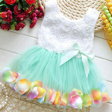Toddler Baby Kids Girls Princess Party Tutu Lace Bow Flower Dresses for 0-4 Y