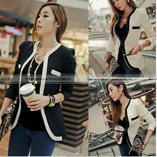 Korean Womens One Button Slim Casual OL Top Coat Jacket Blazer Suit Outwear SH
