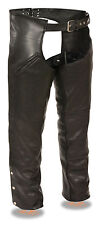 Men's Deep Thigh Slash Pocket Leather Chaps w/ Removable Thermal Liner