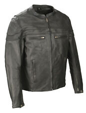 Mens Black Scooter Collar Promo Leather Jacket, Reflective Piping, Gun Pockets