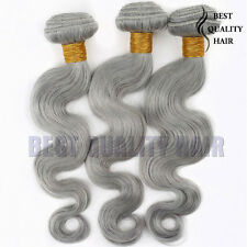 100g Gray Virgin Brazilian Human Hair Extensions Body Wave Rmey Human Hair Weave
