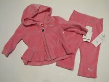 NWT Puma Velour Jogging Athletic Suit 2 Piece Outfit Baby Infant Girl $52