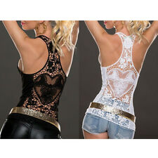 Hot Women Lace Vest Sleeveless Shirt Blouse Casual Tank Top T-Shirt Cami