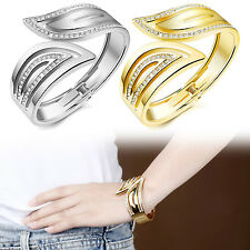 New Women Girls Wedding Bracelet Leaf Designed Rhinestone Gold Plating Copper