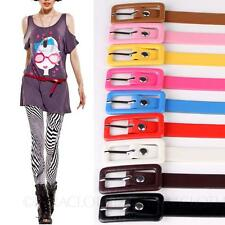 Adjustable Girls Ladies Womens Skinny Candy Color Thin Buckle Waist Belt