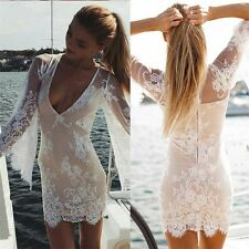 Women Sexy Sheer Lace Crochet Boho Short Dress Evening Party Casual Beach DW