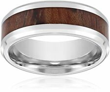 Men's 8mm Cobalt Comfort Fit High Polished Beveled Edges with Wood Grain Inlay W