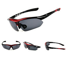 Polarized Sports Sunglasses with 5 Interchangeable Lenses for Baseball Running
