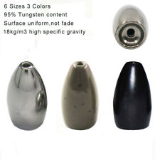 100% Pure Tungsten Worm Flipping Weights Black Sinkers Bullet Bass Sinker Tackle