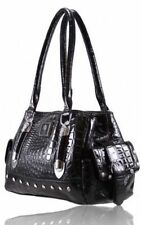 LYDC LADIES DESIGNER PATENT DIAMANTE MOCK CROC SHOULER HANDBAG