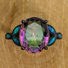 Black Gold Filled Ring With Large Oval Rainbow Mystic Topaz And Blue Fire Opals