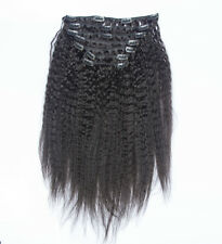 Italian Coarse Yaki Kinky Straight Clip In Human Hair Extensions Weft 120g 10pcs
