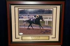 Jean Cruguet Seattle Slew Autographed Signed 1977 Triple Crown Photo JSA PSA