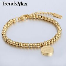 3mm Womens Mens Chain Gold Silver Ball Bead Link Stainless Steel Charm Bracelet