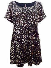 Womens plus size 24  26 28 30  top black tunic gold sequin detail short sleeve