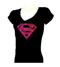 Women's  T-shirts rhinestones Iron on SUPER GIRL HOTPINK Bling, Small to 3XL