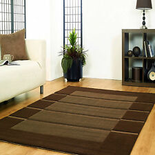 EXTRA LARGE SMALL 16-18mm THICK BROWN CARVED MODERN STRIPE STRIP VISIONA RUG MAT