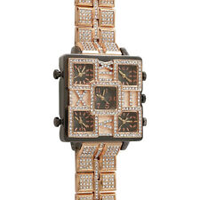 Rose Gold 5 Timezone Square Face Iced Out Bling Watch