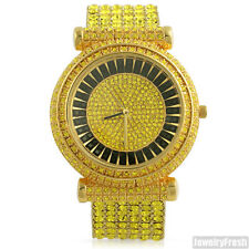 Custom Yellow Stone Iced Out Czech Crystal Hip Hop Bling Watch