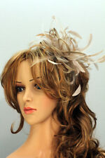 Taupe Nude Fascinator hat /choose any colour feathers/satin