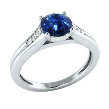 0.70 ct Real Sapphire & Authentic Diamond Solid Gold Wedding Engagement Ring