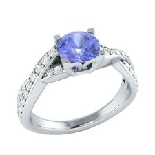 0.85 ct Real Tanzanite & Authentic Diamond Solid Gold Wedding Engagement Ring