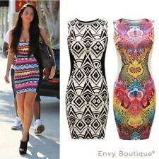Ladies Celeb Inspired Aztec Contrast Panel Slimming Effect Bodycon Midi Dress