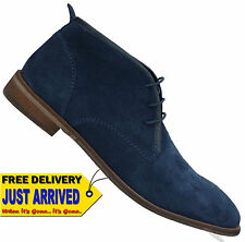 Mens Savile Row JAMES Navy Blue Suede Lace Up Shoes