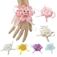 Corsage Wrist Charm Bracelet Fabric Ribbon Hand Flowers Wedding Prom Decoration