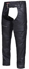 Unisex Economy Leather Motorcycle Chaps with Cargo Pockets