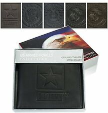 US Armed Forces Men's Genuine Leather Wallets Gift Boxed Tri-Fold