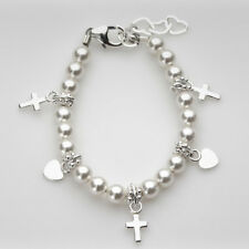 White Pearls with Sterling Silver Cross and Heart Charms Bracelet