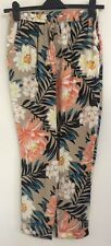 NEW Ex NEW LOOK Size 8-18 Beige Floral Print Joggers Trousers Summer Holiday