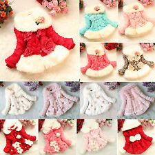Baby Girls Faux Fur Fleece Coat Jacket Kids Floral Princess Warm Clothes 1-9Y